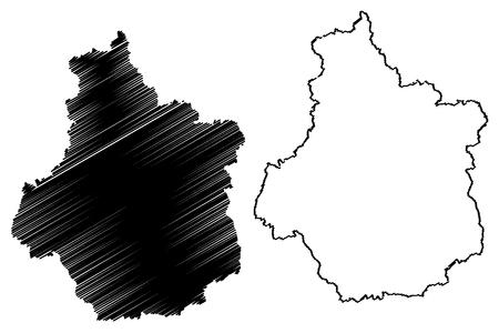 Centre-Val de Loire (France, administrative region) map vector illustration, scribble sketch Centre-Val de Loire map Illustration
