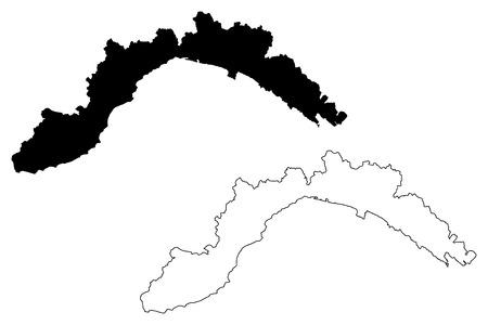 Ilustración de vector de mapa de Liguria (región autónoma de Italia), bosquejo de garabatos mapa de Liguria