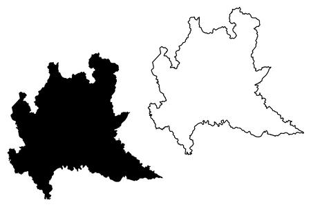 Illustrazione di vettore della mappa della Lombardia (regione autonoma d'Italia), mappa della Lombardia di schizzo dello scarabocchio Vettoriali