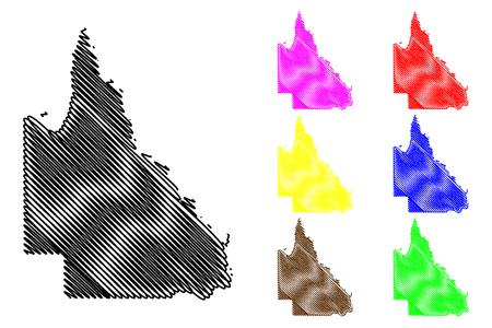 Queensland (Australian states and territories, Qld) map vector illustration, scribble sketch Queensland map