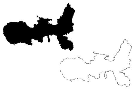 Ilustración de vector de mapa de Elba (isla en Italia, archipiélago toscano), bosquejo de garabatos mapa de Elba