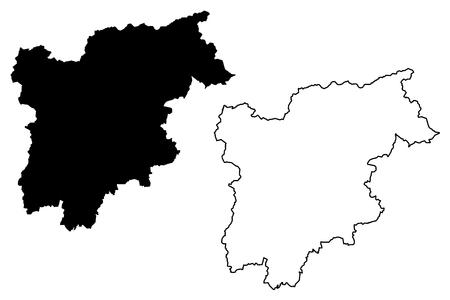 Trentino-Alto Adige - Sudtirol (Autonomous region of Italy) map vector illustration, scribble sketch  Trentino-South Tyrol map