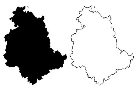 Ilustración de vector de mapa de Umbría (región autónoma de Italia), bosquejo de garabatos mapa de Umbría