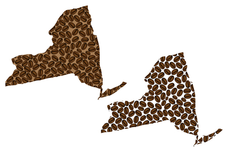 New York (United States of America) -  map of coffee bean, New York (state) map made of coffee beans, 向量圖像