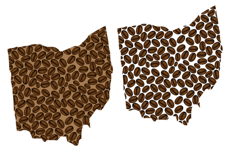 Ohio (United States of America) - map of coffee bean, Ohio map made of coffee beans,