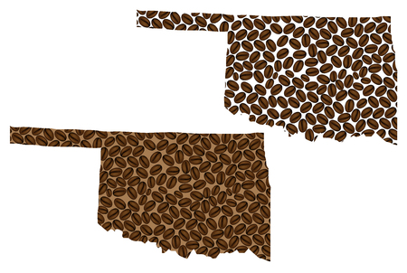 Oklahoma (United States of America) - map of coffee bean, Oklahoma map made of coffee beans,