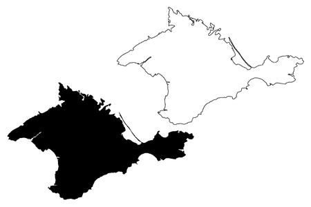 Crimée (Russie, sujets de la Fédération de Russie, républiques de Russie, péninsule de Crimée) carte illustration vectorielle, croquis de gribouillage carte de la République de Crimée Vecteurs