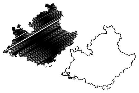 Provenza-Alpi-Costa Azzurra (Francia, regione amministrativa, PACA) mappa illustrazione vettoriale, schizzo scarabocchio mappa Provenza-Alpi-Costa Azzurra