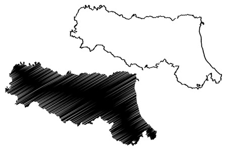 Emilia-Romagna (Autonomous region of Italy) map vector illustration, scribble sketch Emilia-Romagna map Illusztráció