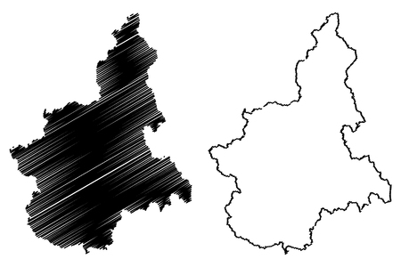 Piedmont (Autonomous region of Italy) map vector illustration, scribble sketch Piemonte map Ilustração