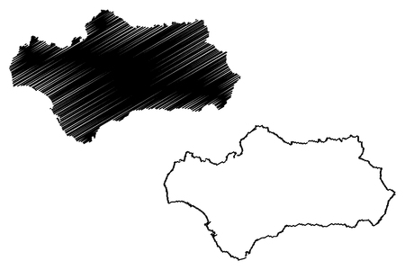 Andalusia (Kingdom of Spain, Autonomous community) map vector illustration, scribble sketch Andalusia map
