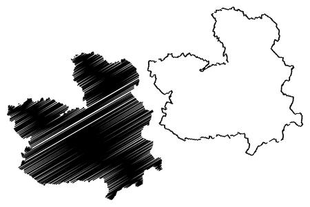 Castilla–La Mancha (Kingdom of Spain, Autonomous community) map vector illustration, scribble sketch Castile–La Mancha map Illustration