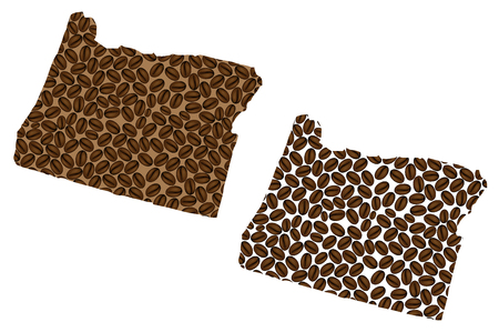 Oregon (United States of America) -  map of coffee bean, Oregon map made of coffee beans,
