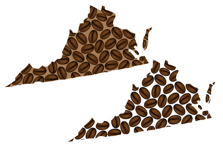 Virginia (United States of America) - map of coffee bean, Commonwealth of Virginia map made of coffee beans,