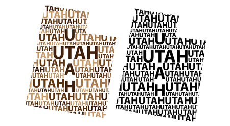 Sketch Utah (United States of America) letter text map, Utah map - in the shape of the continent, Map Utah - brown and black vector illustration