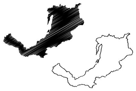 Buryatia (Russia, Subjects of the Russian Federation, Republics of Russia) map vector illustration, scribble sketch Republic of Buryatia map 向量圖像
