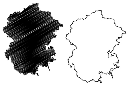 Chuvashia (Russia, Subjects of the Russian Federation, Republics of Russia) map vector illustration, scribble sketch Chuvash Republic map