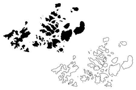 Franz Josef Land (archipelago of Russia, Franz Joseph Land or Francis Josephs Land) map vector illustration, scribble sketch Franz Josef Land(Prince George Land, Wilczek Land, Graham Bell Island, Ale