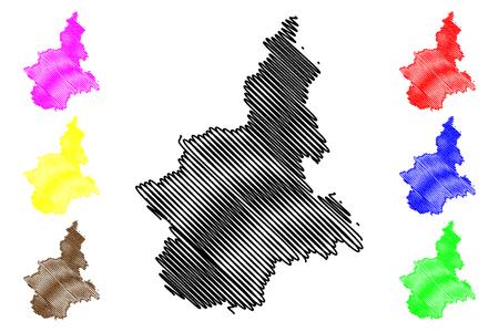 Piemonte (regione autonoma d'Italia) mappa illustrazione vettoriale, scribble schizzo mappa Piemonte Vettoriali