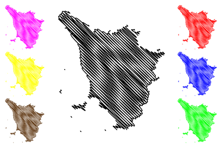 Toscana (regione autonoma d'Italia) mappa illustrazione vettoriale, scarabocchio schizzo Toscana map