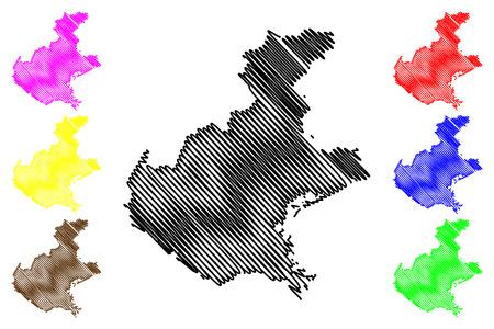 Veneto (regione autonoma d'Italia) mappa illustrazione vettoriale, scribble schizzo Mappa del Veneto Vettoriali