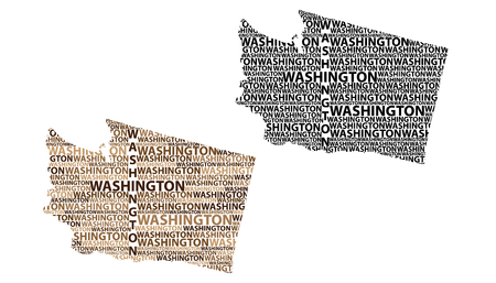 Sketch Washington (state) (United States of America) letter text map, Washington (state) map - in the shape of the continent, Map State of Washington - brown and black vector illustration