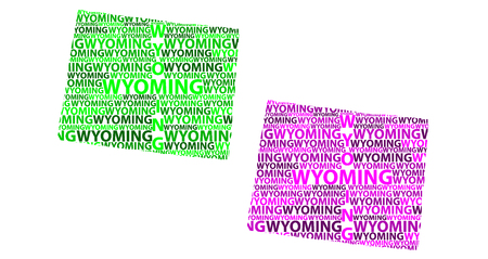 Sketch Wyoming (United States of America) letter text map, Wyoming map - in the shape of the continent, Map State of Wyoming - green and purple vector illustration