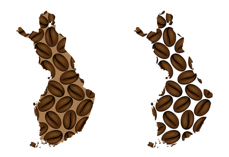 Finland - map of coffee bean, Republic of Finland map made of coffee beans,