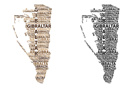 Sketch Gibraltar letter text map, Rock of Gibraltar - in the shape of the continent, Map Gibraltar (British Overseas Territory) - black and brown vector illustration