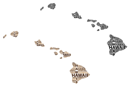 Sketch Hawaii (United States of America) letter text map, Hawaii map - in the shape of the continent, Map State of Hawaii - brown and black vector illustration Vektoros illusztráció
