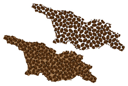 Georgia (country) -  map of coffee bean, Georgia map made of coffee beans,  イラスト・ベクター素材