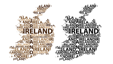 Sketch Ireland letter text map, Republic of Ireland - in the shape of the continent, Map Ireland - brown and black vector illustration