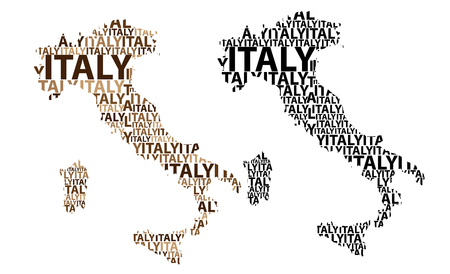 Sketch Italy (Italian or Apennine Peninsula) letter text map, Italian Republic - in the shape of the continent, Map Italy - brown and black vector illustration Stock Illustratie