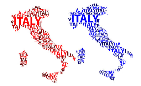 Sketch Italy (Italian or Apennine Peninsula) letter text map, Italian Republic - in the shape of the continent, Map Italy - red and blue vector illustration