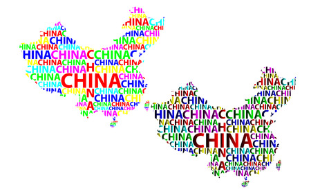 Sketch China letter text map, People's Republic of China (PRC) - in the shape of the continent, Map China - color vector illustration