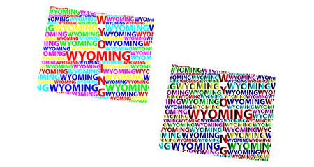 Sketch Wyoming (United States of America) letter text map, Wyoming map - in the shape of the continent, Map State of Wyoming - color vector illustration