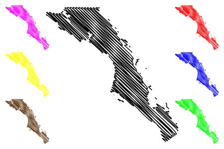 Ilustración de vector de mapa de Baja California Sur (Estados Unidos Mexicanos, México, República federal), bosquejo de garabatos Mapa de Estado Libre y Soberano de Baja California Sur (El Territorio Sur de Baja California)