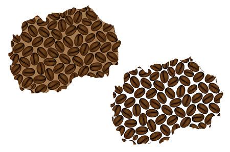 Macedonia - map of coffee bean, Republic of Macedonia map made of coffee beans,