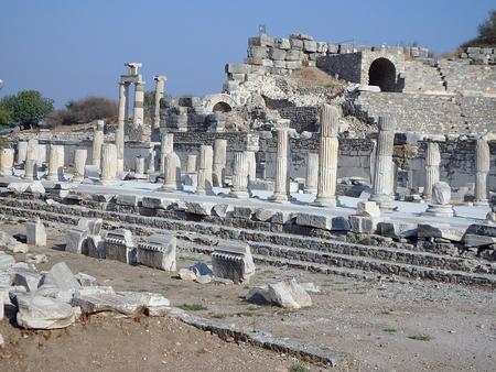 Ancient ruins in Ephesus Turkey - archeology background, (Selcuk, Izmir - Turkey) Stock Photo