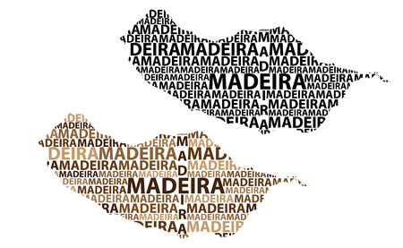 Sketch Madeira letter text map, Island of Madeira - in the shape of the continent, Map Autonomous Region of Madeira - brown and black vector illustration