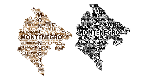 Sketch Montenegro letter text map, Montenegro - in the shape of the continent, Map Montenegro - brown and black vector illustration