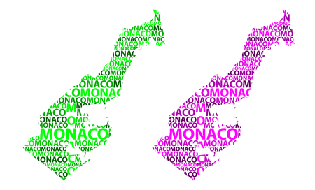 Sketch Monaco letter text map, Principality of Monaco - in the shape of the continent, Map Monaco - green and purple vector illustration