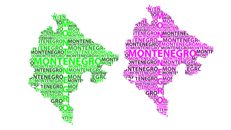 Sketch Montenegro letter text map, Montenegro - in the shape of the continent, Map Montenegro - green and purple vector illustration