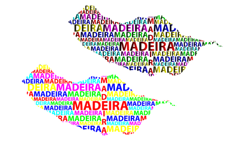 Sketch Madeira letter text map, Island of Madeira - in the shape of the continent, Map Autonomous Region of Madeira - color vector illustration Banco de Imagens - 110631514