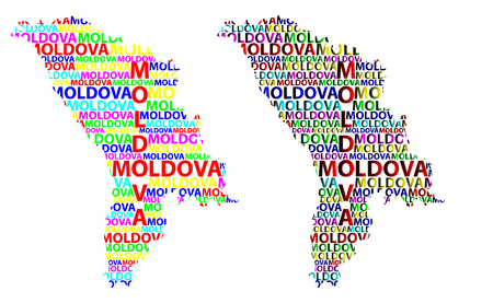 Sketch Moldova letter text map, Republic of Moldova - in the shape of the continent, Map Moldova - color vector illustration