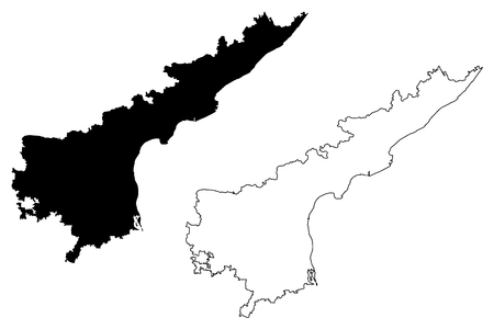 Andhra Pradesh (States and union territories of India, Federated states, Republic of India) map vector illustration, scribble sketch Andhra Pradesh state map