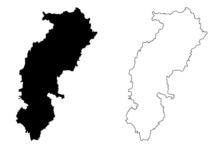 Chhattisgarh (States and union territories of India, Federated states, Republic of India) map vector illustration, scribble sketch Chhattisgarh state map