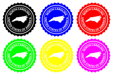 North Carolina - rubber stamp - vector, North Carolina (United States of America) map pattern - sticker - black, blue, green, yellow, purple and red Illustration