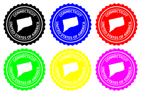 Connecticut - rubber stamp - vector, Connecticut (United States of America) map pattern - sticker - black, blue, green, yellow, purple and red Иллюстрация
