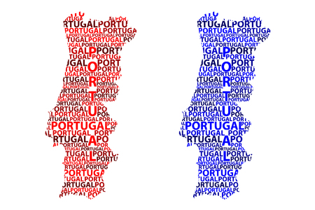 Sketch Portugal letter text map, Portuguese Republic - in the shape of the continent, Map Portugal - red and blue vector illustration 일러스트